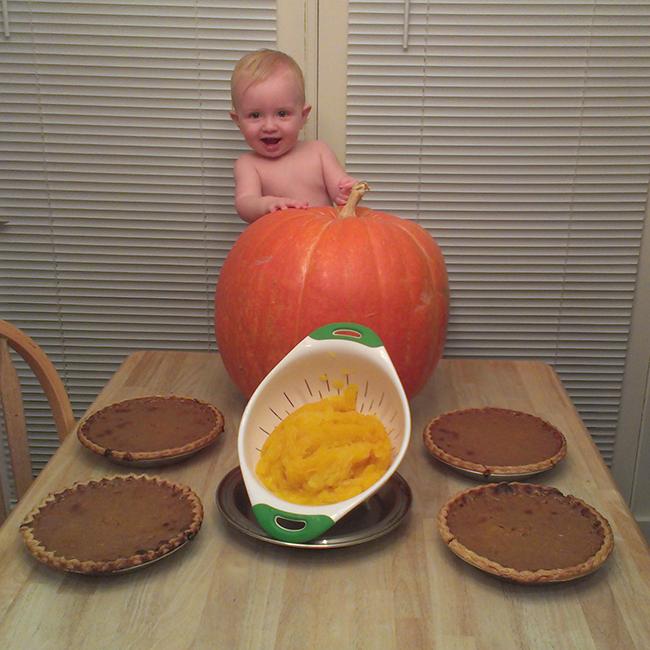 Baby Noah with Pumpkins