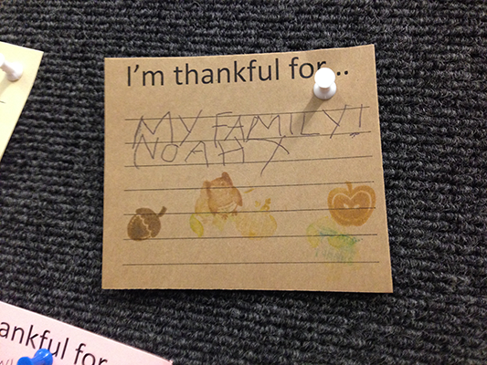 Noah is thankful for family