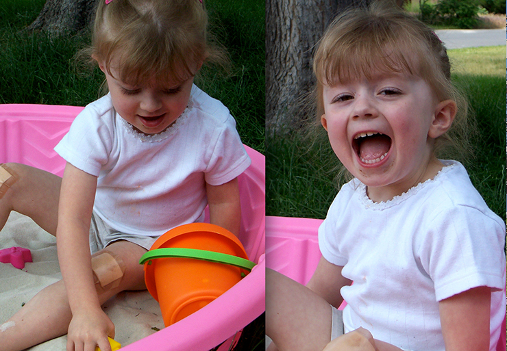Merci playing in her sandbox - 3 years old