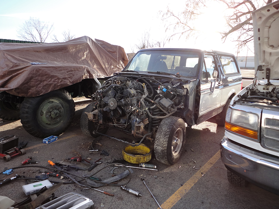Most damaged parts removed from Bronco