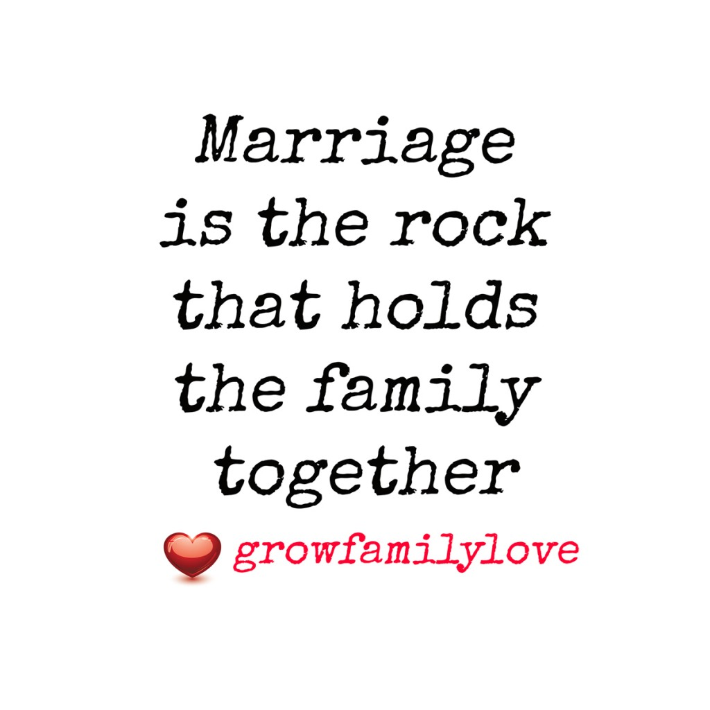 Marriage is the rock that holds the family together