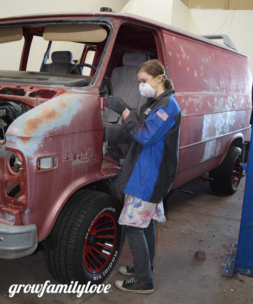 Graci working on the ATeam van!