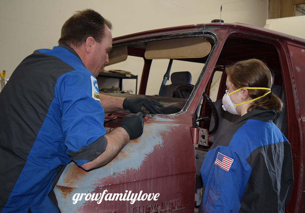 Graci and Daddy working on the ATeam van!