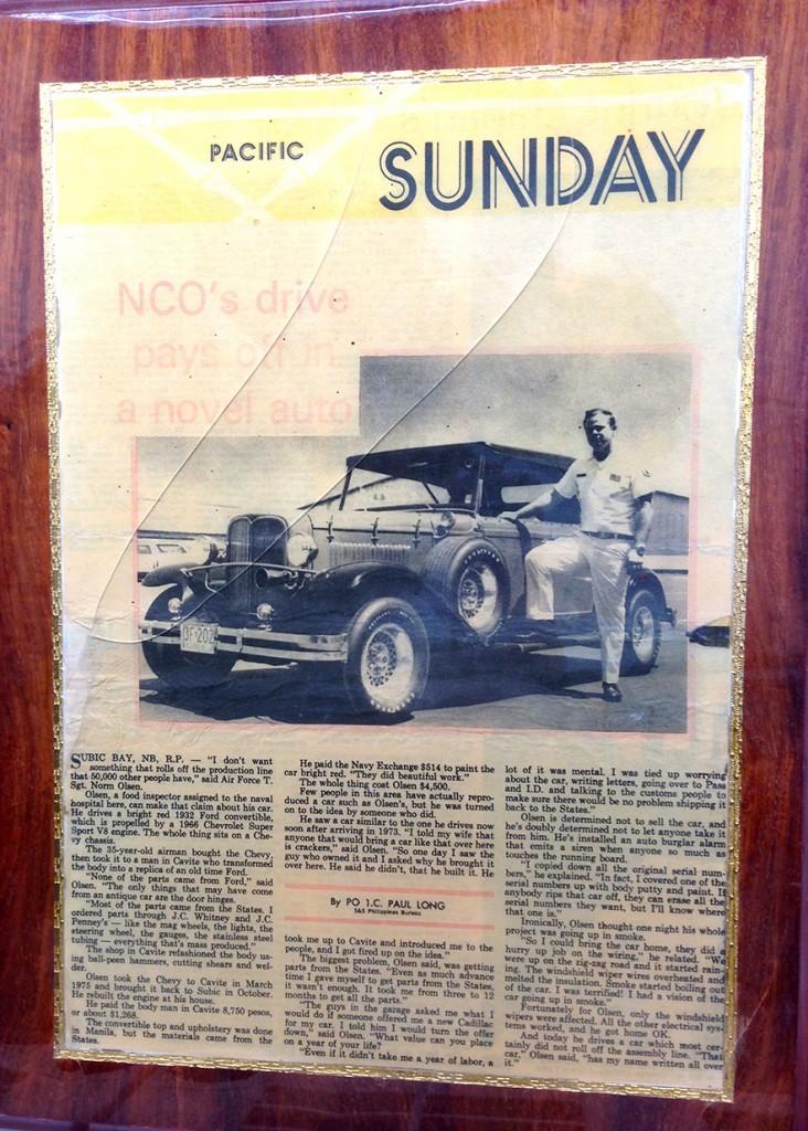 Grandpa's custom car in the newspaper