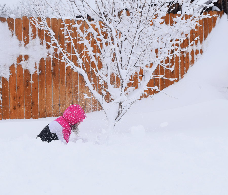 Graci trenching through the snow