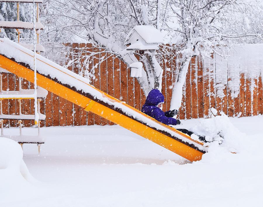 Merci sliding in the snow
