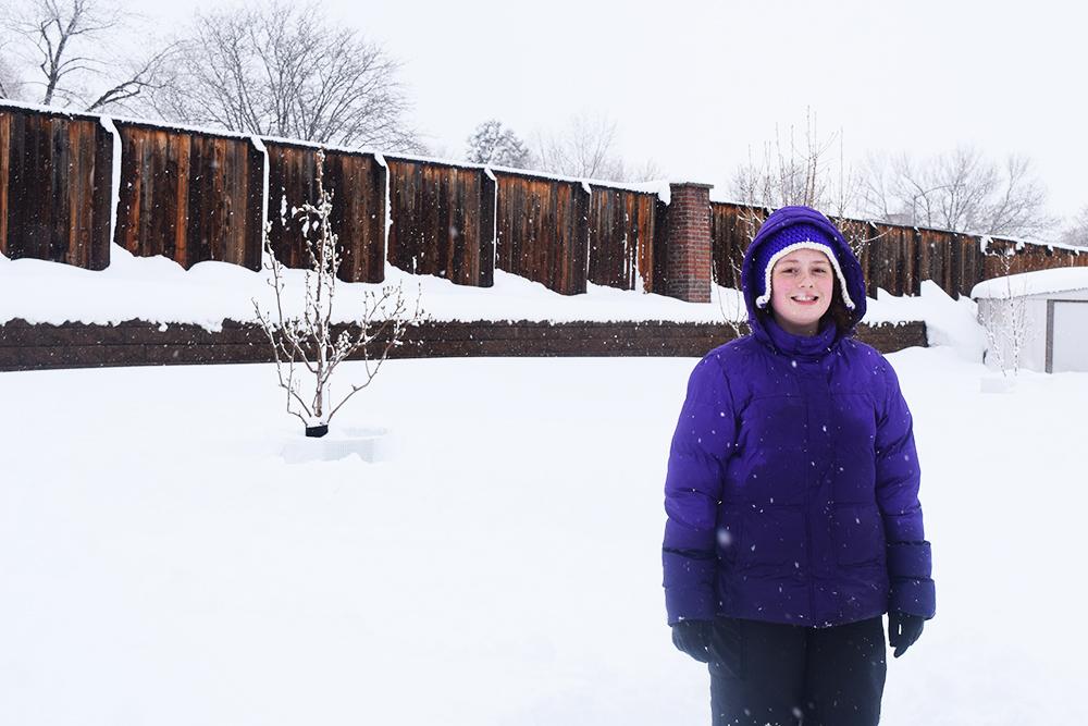 Merci happy in the snow